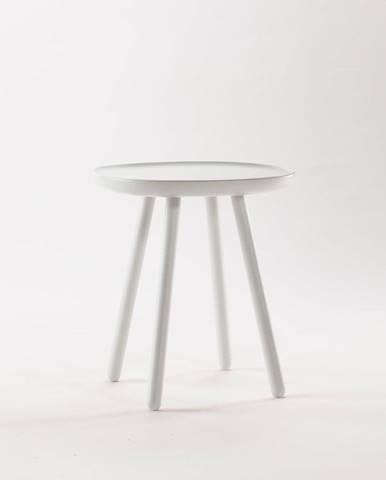 Biely odkladací stolík z masívu EMKO Naïve, ø45cm