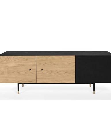 Hnedo-čierny televízny stolík Woodman Jugend