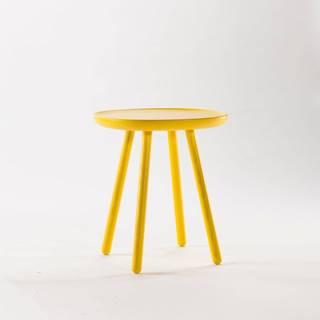 Žltý odkladací stolík z masívu EMKO Naïve, ⌀45cm