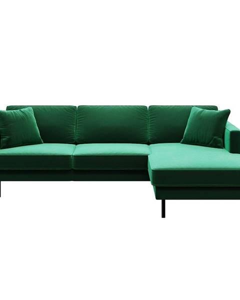 MESONICA Zelená zamatová rohová pohovka MESONICA Kobo,pravý roh