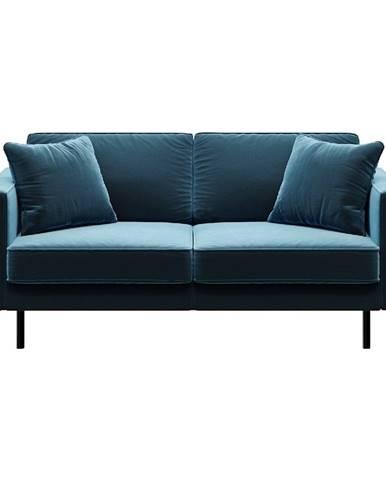 Modrá zamatová pohovka MESONICA Kobo, 167 cm