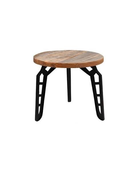 LABEL51 Odkladací stolík s doskou z mangového dreva LABEL51 Flintstone, ⌀ 45 cm