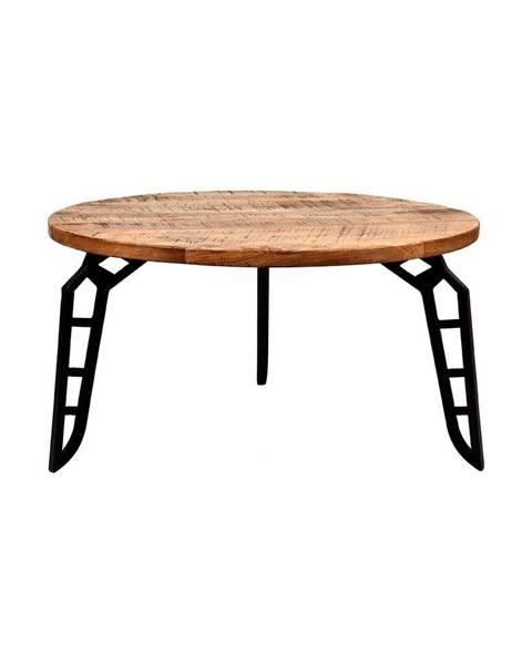 LABEL51 Odkladací stolík s doskou z mangového dreva LABEL51 Flintstone, ⌀ 80 cm