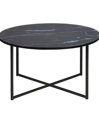 Čierny konferenčný stolík s doskou v mramorovom dekore Actona Alisma, ⌀80 cm