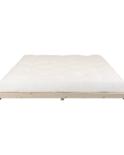 Karup Design Dvojlôžková posteľ z borovicového dreva s matracom Karup Design Dock Double Latex Natural Clearl/Natural, 180 × 200 cm
