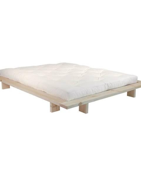 Karup Design Dvojlôžková posteľ z borovicového dreva s matracom Karup Design Japan Double Latex Raw/Natural, 140 × 200 cm