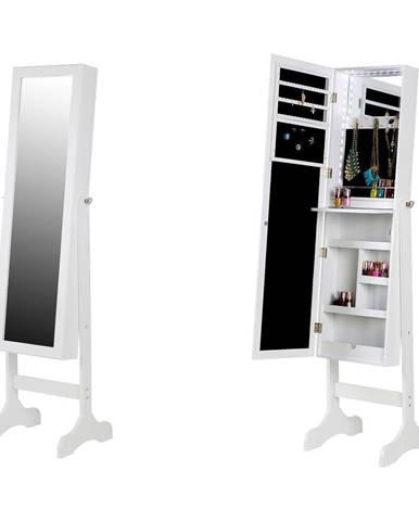 Biela stojacia šperkovnica so zrkadlom a LED podsvietením Chez Ro Bien