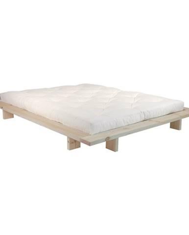 Dvojlôžková posteľ z borovicového dreva s matracom Karup Design Japan Comfort Mat Raw/Natural, 140 × 200 cm