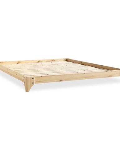 Dvojlôžková posteľ z borovicového dreva s matracom Karup Design Elan Comfort Mat Natural Clear/Natural, 140 x 200 cm