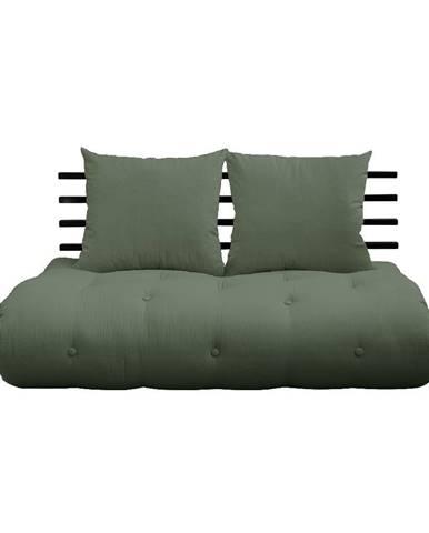 Rozkladacia pohovka so zeleným poťahom Karup Design Shin Sano Black/Olive Green