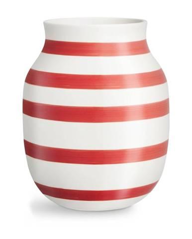 Bielo-červená pruhovaná keramická váza Kähler Design Omaggio, výška 20,5 cm