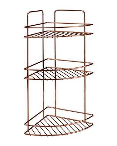 Kúpeľňová rohová polička s troma poschodiami Metaltex Copper