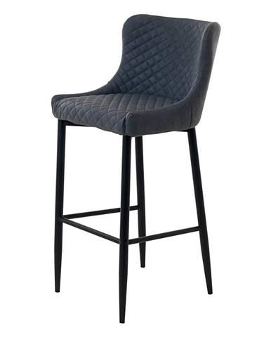 Sivá čalúnená barová stolička Unique Furniture Ottowa, výška 105 cm