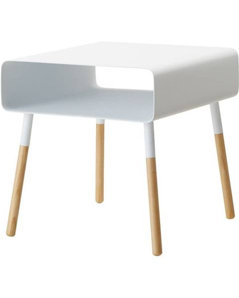 YAMAZAKI Biely odkladací stolík YAMAZAKI Plain, výška 35 cm