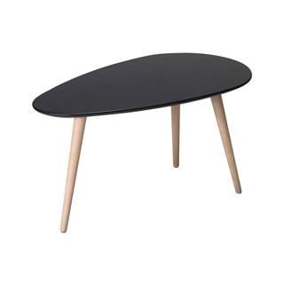Čierny konferenčný stolík s nohami z bukového dreva FurnhoFly, 75 x 43 cm