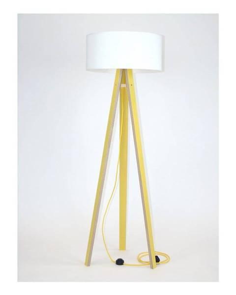 Ragaba Žltá stojacia lampa s bielym tienidloma žltým káblom Ragaba Wanda