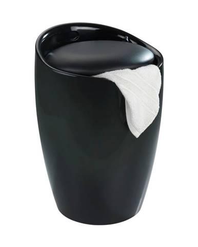Čierny kôš na bielizeň a taburetka v jednom Wenko Candy, 20 l