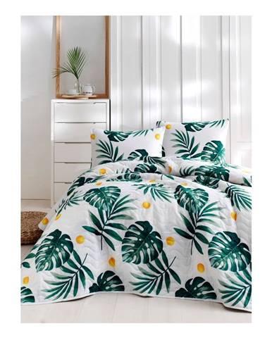Set bavlnenej prikrývky cez posteľ a obliečky na vankúš Lura Jungle, 160×220 cm