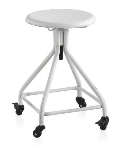 Biela kovová pojazdná stolička na kolieskach s nastaviteľnou výškou Geese Industrial Style