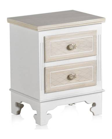 Drevený nočný stolík s 2 zásuvkami Geese Ethel, výška 50 cm