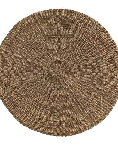 Hnedý koberec z morských rias Geese Rustico Natura, ⌀ 120 cm