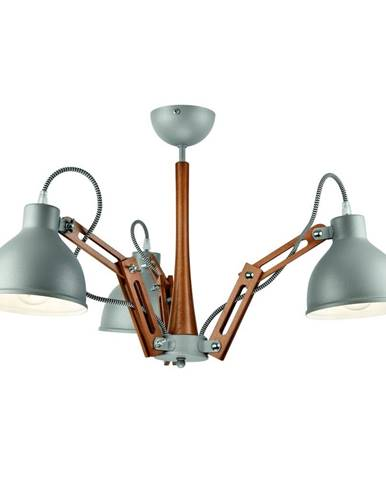 Sivé závesné svietidlo pre 3 žiarovky Lamkur Marcello