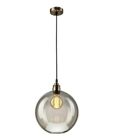 Sklenené závesné svietidlo v sivej farbe Lamkur Ball