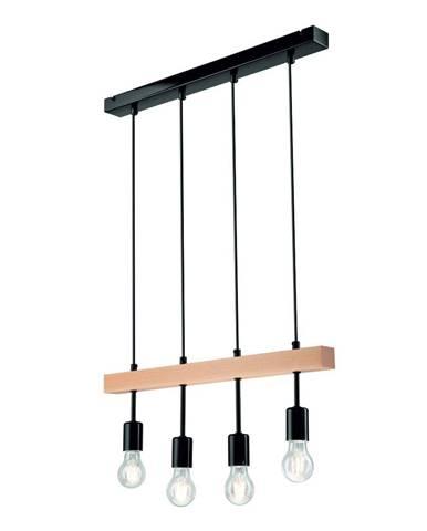 Čierne závesné svietidlo pre 4 žiarovky Lamkur Orazio