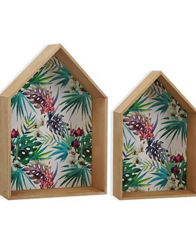 Sada 2 drevených nástenných políc na kvetináče VERSA Tropical