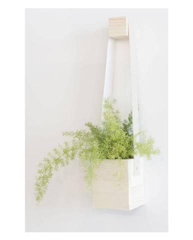 Biely kvetináč z jedľového dreva Surdic Colgantes, 17 x 62 cm