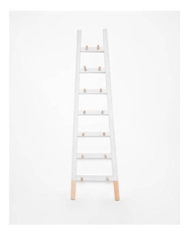 Biely odkladací dekoratívny rebrík z borovicového dreva Surdic Blanco