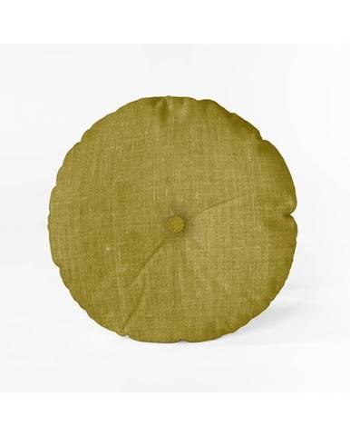 Horčicovožltý vankúš Linen Couture Cojin Redondo Mustard, ⌀ 45 cm