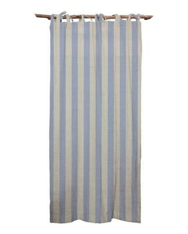 Modrý záves Linen Cuture Cortina Hogar Blue Stripes