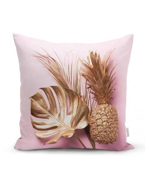 Minimalist Cushion Covers Obliečka na vankúš Minimalist Cushion Covers Golden Ananás and Leafes, 45x45cm