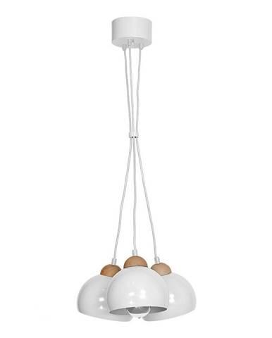 Biele závesné svietidlo s drevenými detailmi Dama Tres Perro