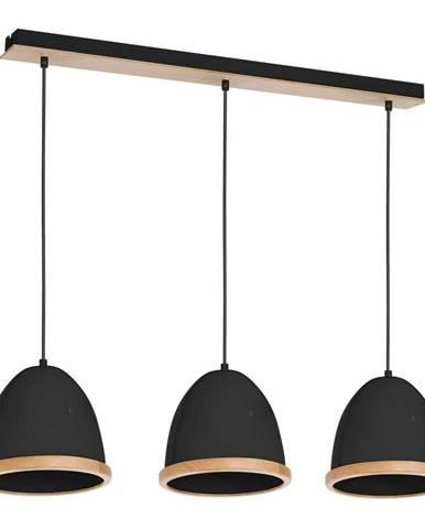Čierne závesné svietidlo s drevenými detailmi Studio Tres