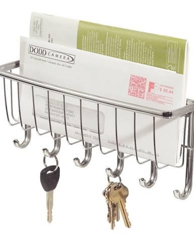Nástenný vešiak na kľúče s priehradkou na listy iDesign York Lyra, dĺžka27,5cm