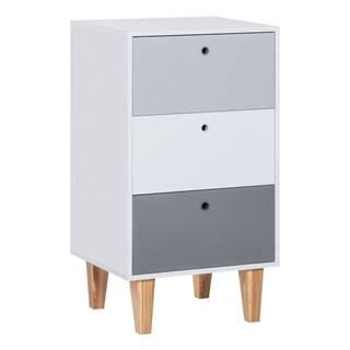 Sivá komoda s policami z dubového dreva Vox Concept, 53,5 × 96,5 cm