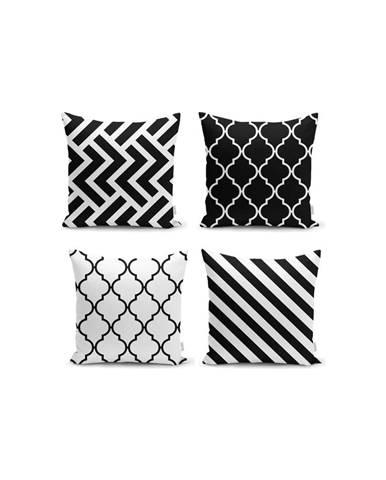 Súprava 4 obliečok na vankúše Minimalist Cushion Covers BW Graphic Patterns, 45x45cm