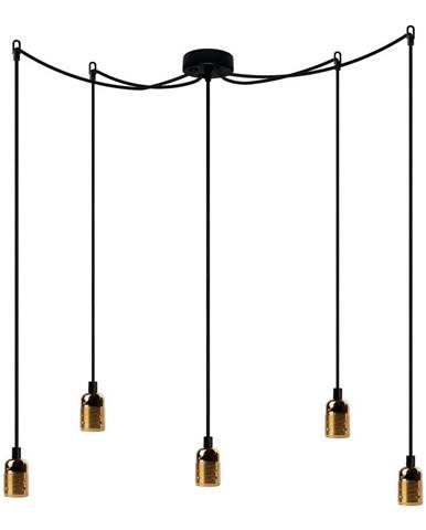 Čierne päťramenné závesné svietidlo s detailmi v zlatej farbe Bulb Attack Uno Cassie