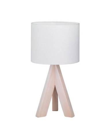 Biela stolová lampa z prírodného dreva a tkaniny Trio Ging, výška 31 cm