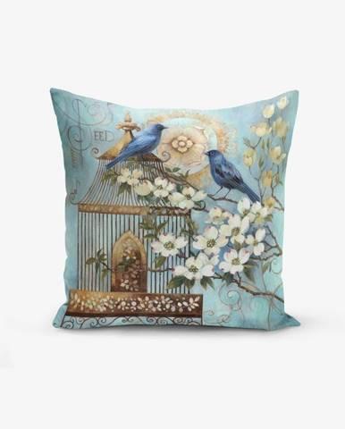 Obliečka na vankúš s prímesou bavlny Minimalist Cushion Covers Blue Bird, 45 × 45 cm