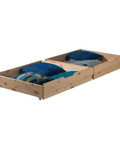 Sada 2 prírodných úložných boxov pod posteľ Vipack Pino