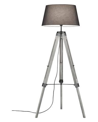 Sivá stojacia lampa z prírodného dreva a tkaniny Trio Tripod, výška 143 cm