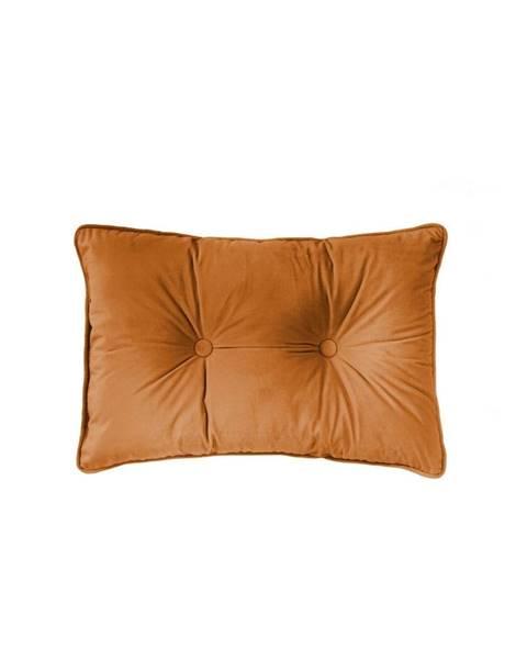 Tiseco Home Studio Oranžový vankúš Tiseco Home Studio Velvet Button, 40 x 60 cm