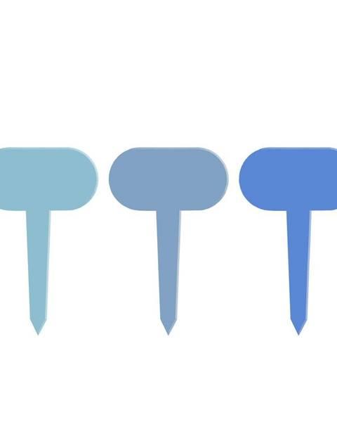 Esschert Design Súprava 3 modrých tabuliek k rastlinám Esschert Design Gardener, dĺžka 11 cm