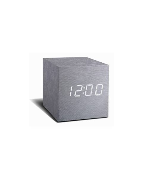 Gingko Sivý budík s bielym LED displejom Gingko Cube Click Clock