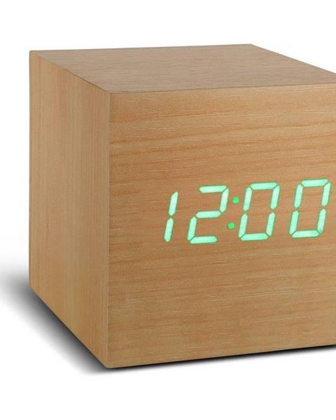 Gingko Béžový budík so zeleným LED displejom Gingko Cube Click Clock