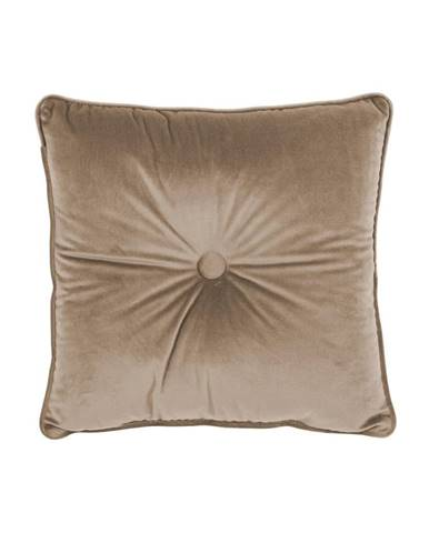 Svetlohnedý vankúš Tiseco Home Studio Velvet Button, 45 x 45 cm