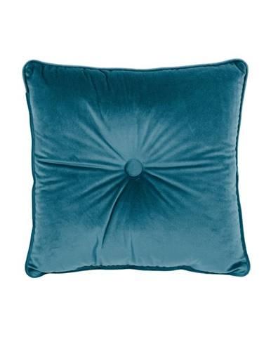 Modrý vankúš Tiseco Home Studio Velvet Button, 45 x 45 cm
